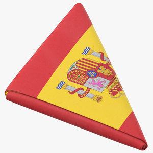 flag folded triangle spain model