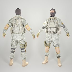 equipped military uniform 3D