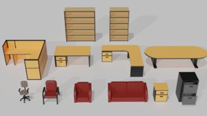 3D table chair office