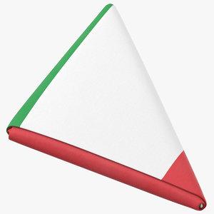 3D flag folded triangle italy model