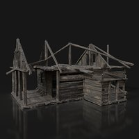 Next Gen AAA BURNED RUINED OLD MEDIEVAL WOODEN COTTAGE HUT