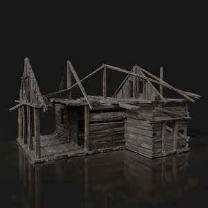 old ruined medieval hut 3D