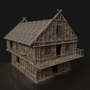 3D ready fantasy medieval tavern model