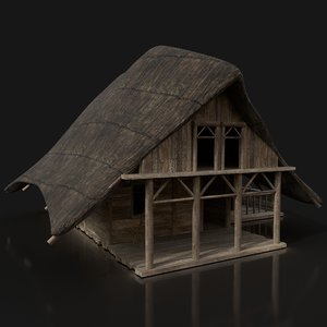 3D model dark fantasy wooden house
