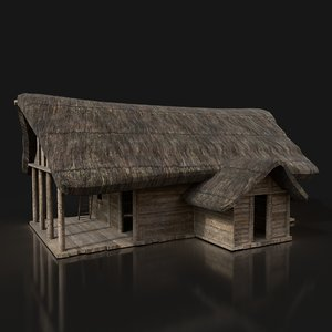simple medieval wooden hut buildings model