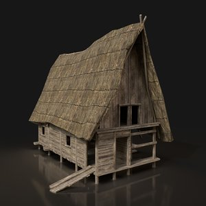 3D wooden cabin enterable model