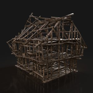 3D fantasy medieval town house buildings