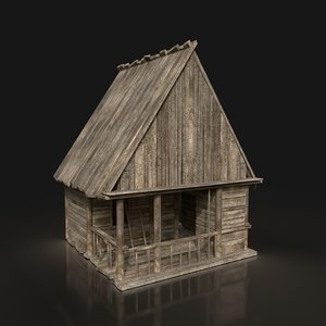 wooden hut enterable 3D