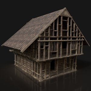 3D model ready viking house buildings