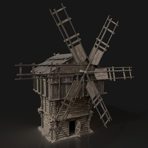 3D medieval wooden fantasy windmill model