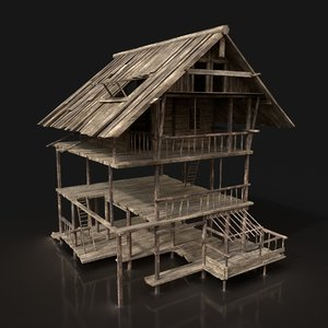 3D model wooden house scouttower enterable