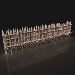 wooden palisade walls 3D