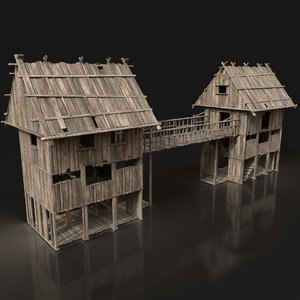 medieval wooden scouttower bridge 3D model