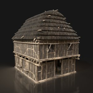 3D model ready thatched granary house buildings
