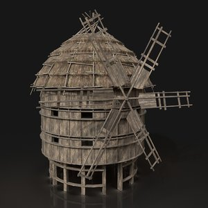ready fantasy medieval windmill 3D model