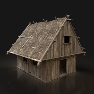 3D ready simple thatched hut buildings