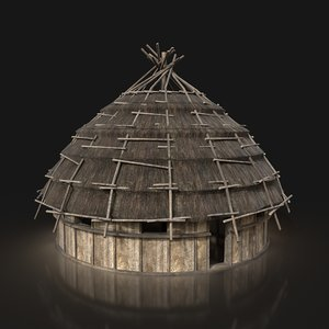 3D ready thatched hut buildings