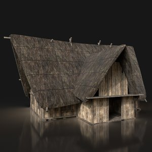 3D ready dark thatched cottage
