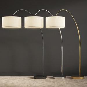 3D overarching linen shade floor lamp