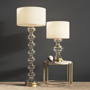 jasmine glass floor table lamp 3D