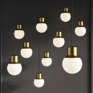 mass pendant light gold 3D model