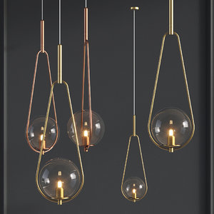 pendant lamp loop brass 3D model