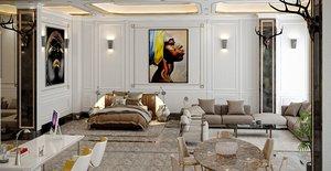 3D model furniture store interior modern