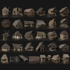 3D 30 enterable medieval houses