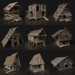 package medieval fantasy village 3D model