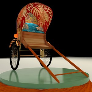 3D chinese hand pulled rickshaw model
