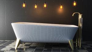luxury bath tub modeled 3D model