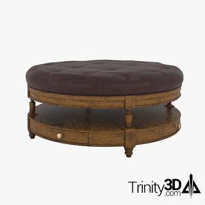 3D model leather ottoman