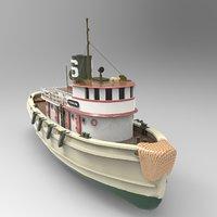 Steamship Karina Boat Lowpoly model