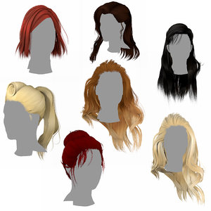 3D hair classic hairstyles low-poly