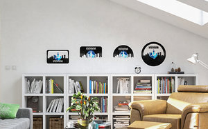 3D vinyl wall art city skyline
