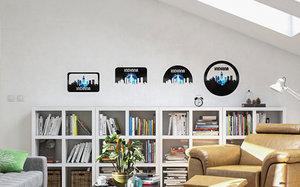 3D vinyl wall art city skyline