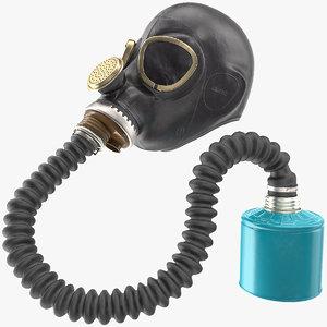 3D model black rubber gas mask