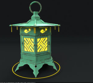 japanese lantern modeled 3D model