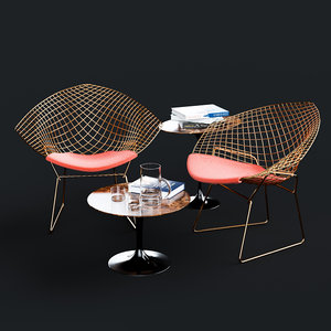 knoll bertoia diamond chair saarinen model