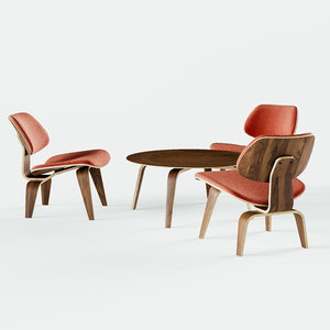 eames molded plywood lounge chair 3D model