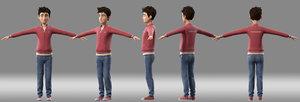 cartoon boy child student 3D model