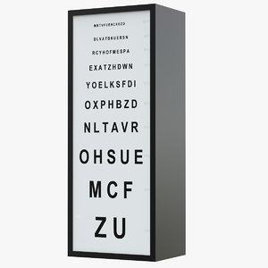 3D acuite chart optic monoyer model