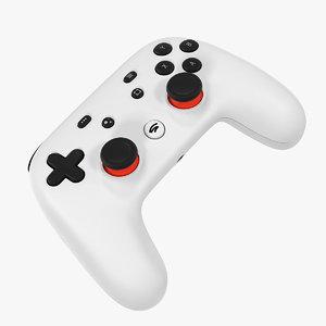 white google stadia controller 3D model