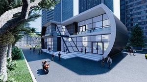 3D model modern building office design