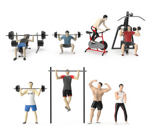 people gym fitness 3D
