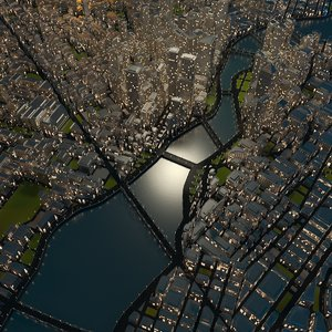 3D cityscape night model
