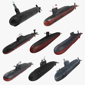 3D military submarine 3 model
