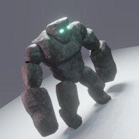 Stone Golem Low-poly 3D model