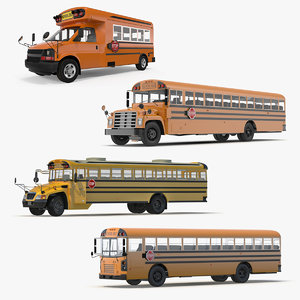 3D rigged school buses 2 model