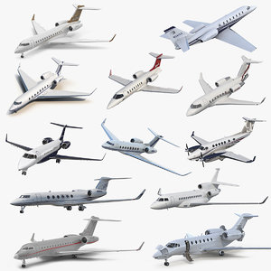 rigged business jets 5 3D model